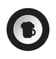 round black white button icon - beer with foam vector image