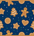 seamless background with gingerbread cookies vector image vector image