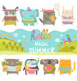 set cute animals with summer theme on white vector image vector image