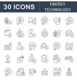 set line icons energy technology vector image vector image