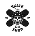 skull and two crossed skateboards emblem vector image vector image