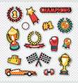 sport trophy winner stickers set with medals vector image