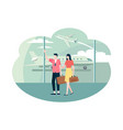 time to travel couple with baggage in airport vector image vector image