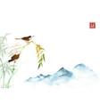 two cicadas bamboo branch and far blue mountains vector image vector image