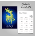 two-sided calendar 2016 with reindeer garland vector image