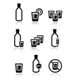 Vodka strong alcohol icons set vector image