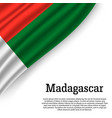 waving flag of madagascar vector image vector image