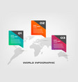 world map color infographics step by step in a vector image vector image