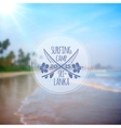 Surfing camp logo on blurred beach photo vector image