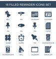 16 reminder icons vector image vector image