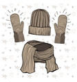 a winter knitted items set vector image vector image