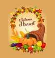 autumn harvest poster vector image vector image