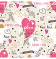 Background with red valentine heart flower wishes vector image vector image