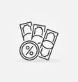 banknotes with percent sign line icon vector image