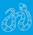 black striped snake icon outline style vector image vector image