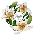 bouquet lily tiger type realistic flowers vector image
