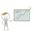 business man showing a growing graph vector image vector image