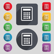 Calculator icon sign A set of 12 colored buttons vector image vector image