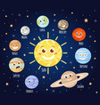 cartoon planets with faces solar system planet vector image
