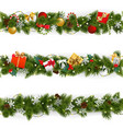 christmas border set with garland vector image vector image