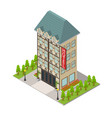 city hotel building isometric view vector image vector image
