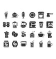 coffee silhouette icons hot drink cup coffee vector image vector image