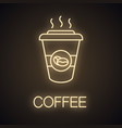coffee to go neon light icon vector image