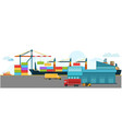 container cargo freight ship with working crane vector image