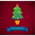 Creative Merry Christmas tree formed from vector image vector image