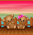 cute couple a teddy bear sitting on seaport vector image vector image
