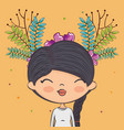 cute girl character with floral decoration vector image
