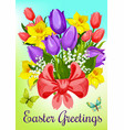 easter flowers with ribbon greeting card design vector image