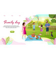family day cartoon landing page template vector image vector image