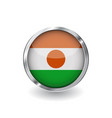 Flag of niger button with metal frame and shadow