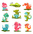 flat set of cute baby dragons mythical vector image