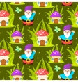 Forest mushroom home and gnomes seamless pattern vector image