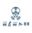 gas mask with pollution background vector image vector image