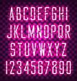 glowing purple neon casual script font vector image vector image