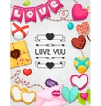 Greeting card with hearts objects decorations vector image