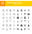 happy birthday line web glyph icons vector image