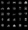 Hospitality business line icons with reflect on vector image
