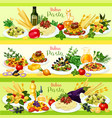 italian pasta dishes with meat tomato and cheese vector image