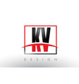 kv k v logo letters with red and black colors and vector image vector image