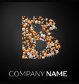 letter b logo gold-silver dots alphabet logotype vector image