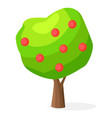luxuriant green apple-tree with red round fruits vector image vector image