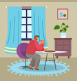 man sitting at home and eating pizza food vector image