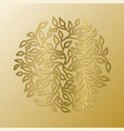 mandala circle pattern round tree leaves gold vector image