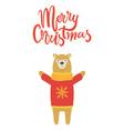merry christmas banner congratulation from bear vector image vector image
