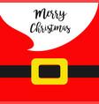 merry christmas santa claus yellow belt white big vector image