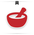 mortar pestle red flat icon vector image